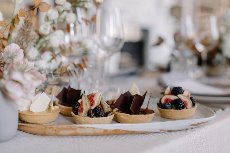 Individual Tarts with Figs, Berries and Chocolate Toppers