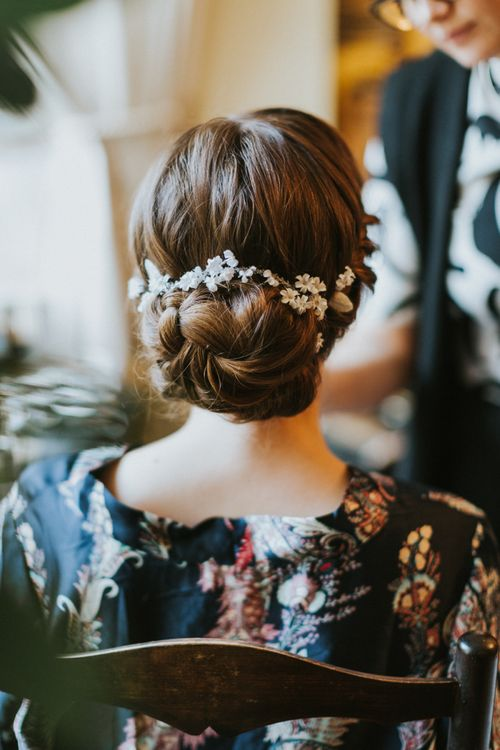Fabric flowers, leaves and crystals in hair