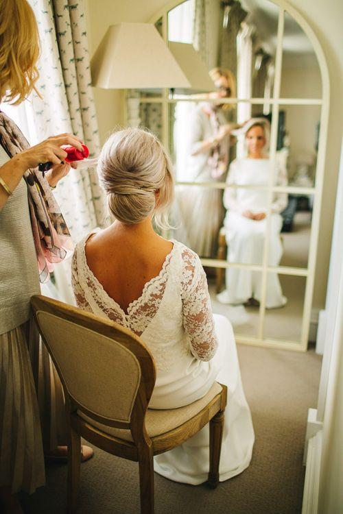 Blonde bride with chignon updo