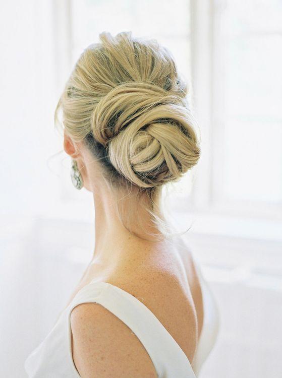 Wrapped bun in blonde hair