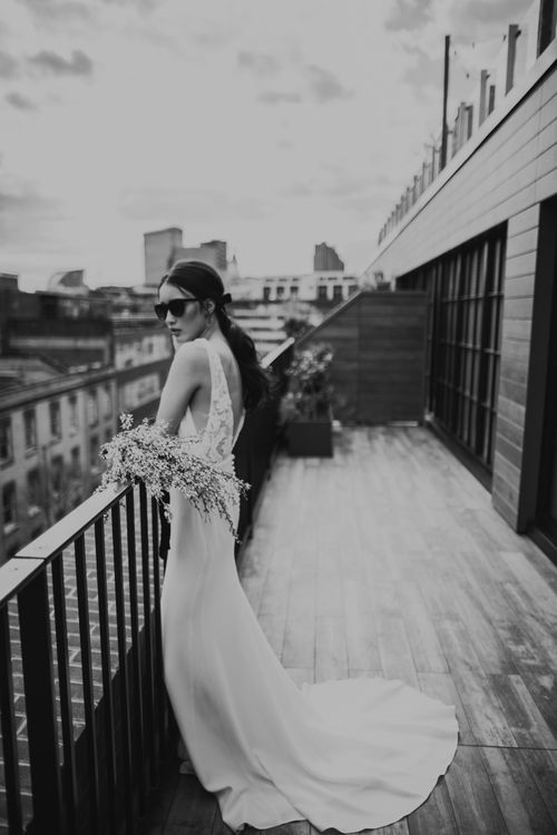 Bridal ponytail with velvet ribbon