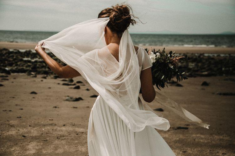 Draped, boho styled veil