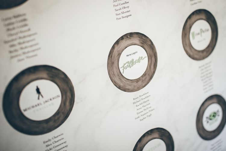 Record Table Plan // Elegant And Classic Marquee Wedding With Music And Vinyl Theme At Shilstone House Devon With Images From Toby Lowe Photography