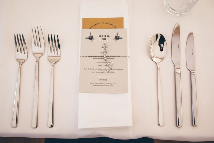 Simple Place Setting For Wedding // Elegant And Classic Marquee Wedding With Music And Vinyl Theme At Shilstone House Devon With Images From Toby Lowe Photography