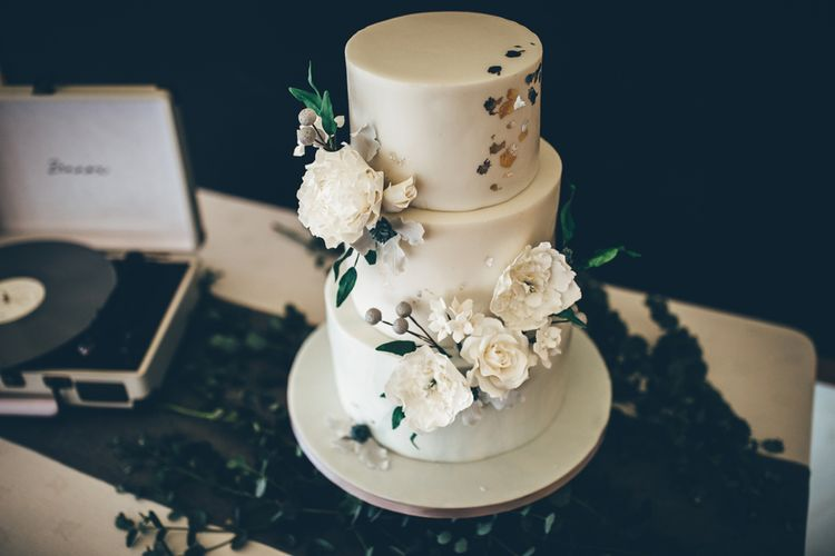 Elegant Floral Wedding Cake // Elegant And Classic Marquee Wedding With Music And Vinyl Theme At Shilstone House Devon With Images From Toby Lowe Photography