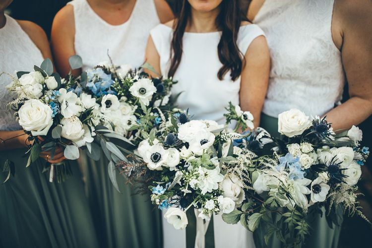 Bridesmaids In Separates // Elegant And Classic Marquee Wedding With Music And Vinyl Theme At Shilstone House Devon With Images From Toby Lowe Photography