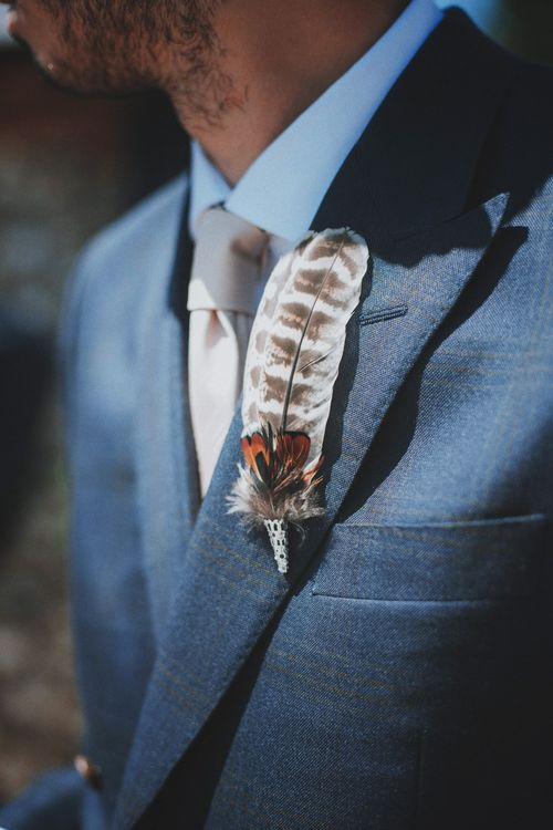 Feather Buttonhole   Rustic Wedding at Farbridge West Sussex with Styling by Fairly Vintage   Meghan Lorna Photography