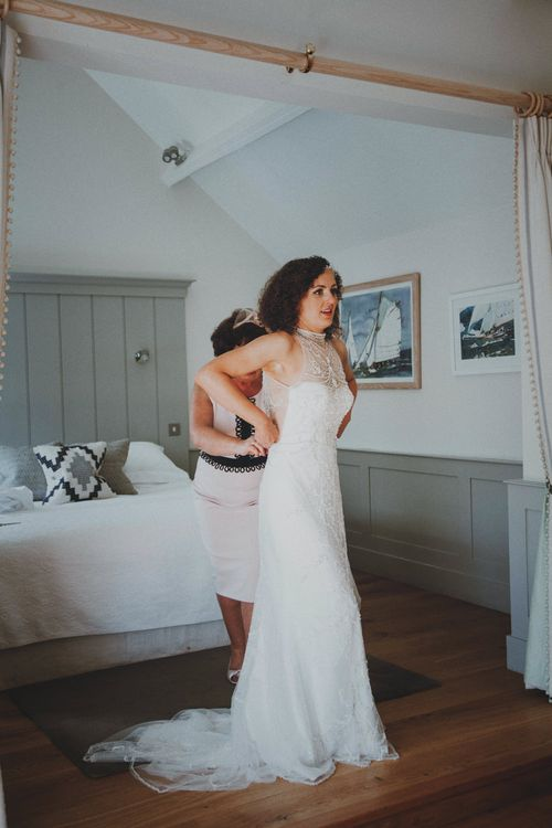 Bride in Sottero & Midgley Wedding Dress   Rustic Wedding at Farbridge West Sussex with Styling by Fairly Vintage   Meghan Lorna Photography