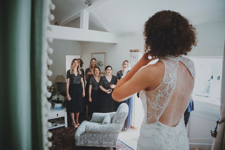 Bridesmaid First Look   Sottero & Midgley Wedding Dress   Rustic Wedding at Farbridge West Sussex with Styling by Fairly Vintage   Meghan Lorna Photography