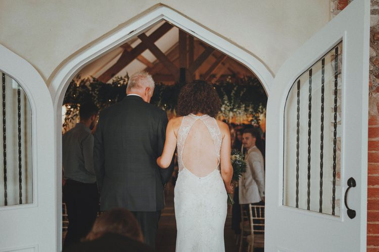 Bridal Entrance in Sottero & Midgley Wedding Dress   Rustic Wedding at Farbridge West Sussex with Styling by Fairly Vintage   Meghan Lorna Photography