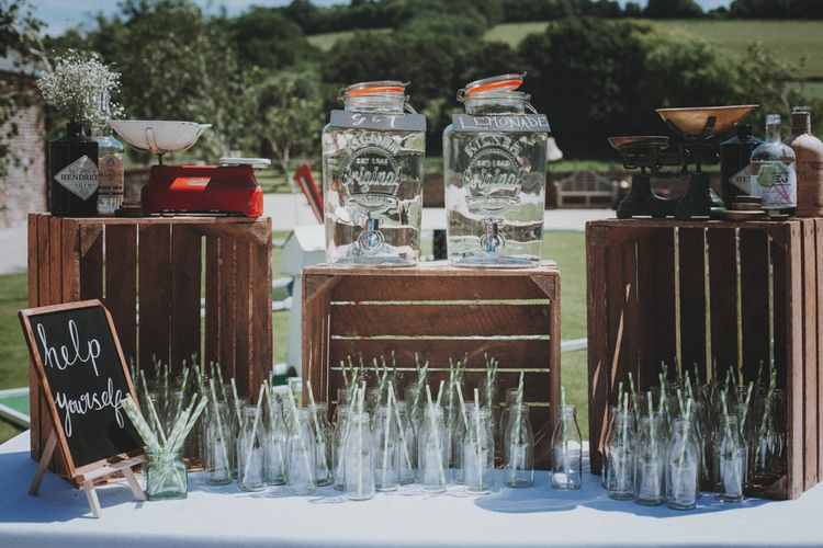 Drinks Station   Rustic Wedding at Farbridge West Sussex with Styling by Fairly Vintage   Meghan Lorna Photography