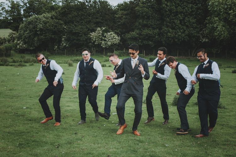 Groomsmen   Groom in Tailor Made Suit   Rustic Wedding at Farbridge West Sussex with Styling by Fairly Vintage   Meghan Lorna Photography