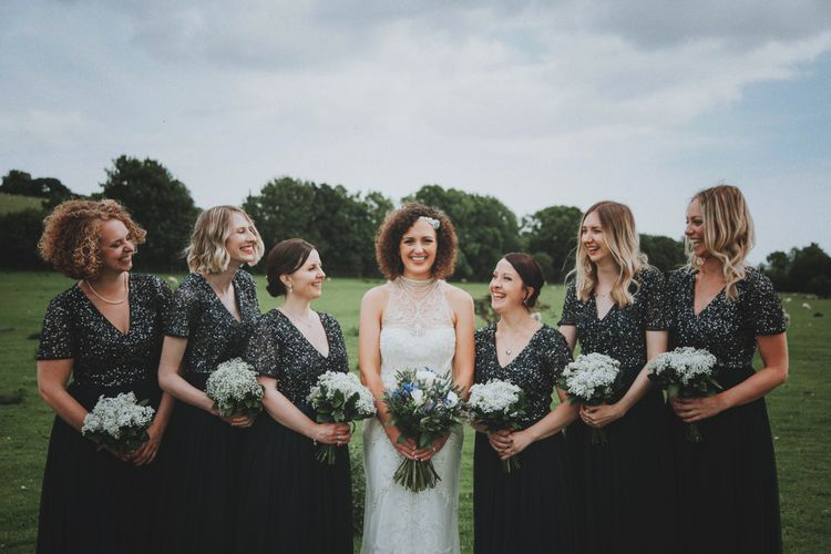 Bridal Party   Bride in Sottero & Midgley Wedding Dress   Bridesmaids in Navy Sequin Dresses   Rustic Wedding at Farbridge West Sussex with Styling by Fairly Vintage   Meghan Lorna Photography