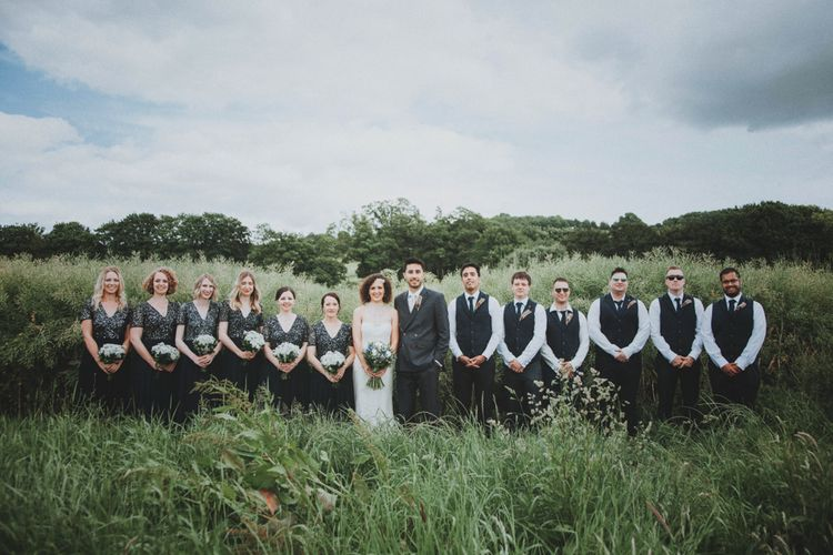 Wedding Party   Bride in Sottero & Midgley Wedding Dress   Bridesmaids in Navy Dresses   Groom in Tailor Made Suit   Rustic Wedding at Farbridge West Sussex with Styling by Fairly Vintage   Meghan Lorna Photography