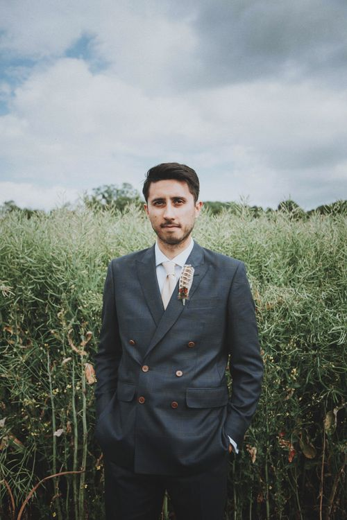 Groom in Tailor Made Suit   Rustic Wedding at Farbridge West Sussex with Styling by Fairly Vintage   Meghan Lorna Photography