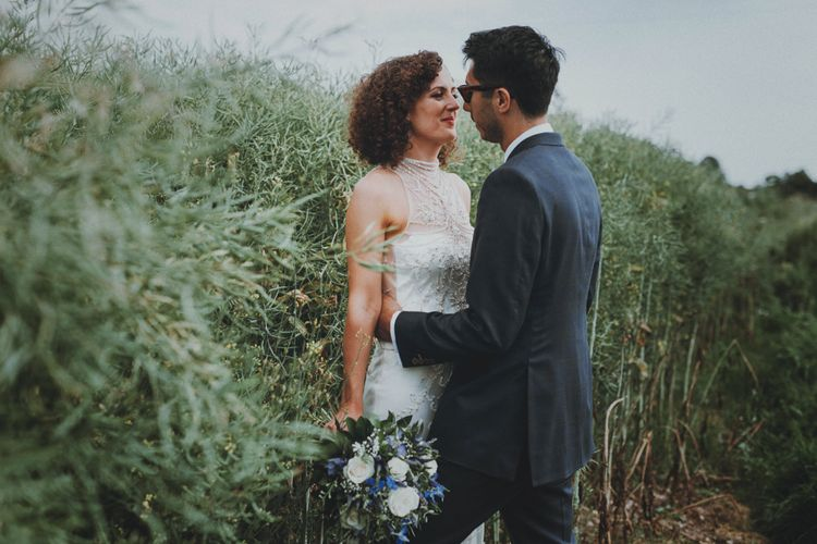 Bride in Sottero & Midgley Wedding Dress   Groom in Tailor Made Suit   Rustic Wedding at Farbridge West Sussex with Styling by Fairly Vintage   Meghan Lorna Photography
