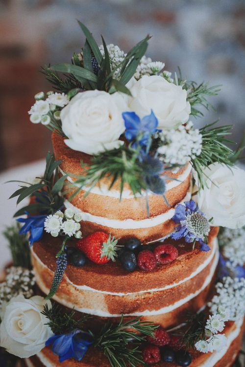 Naked Wedding Cake with Flower Decor   Rustic Wedding at Farbridge West Sussex with Styling by Fairly Vintage   Meghan Lorna Photography