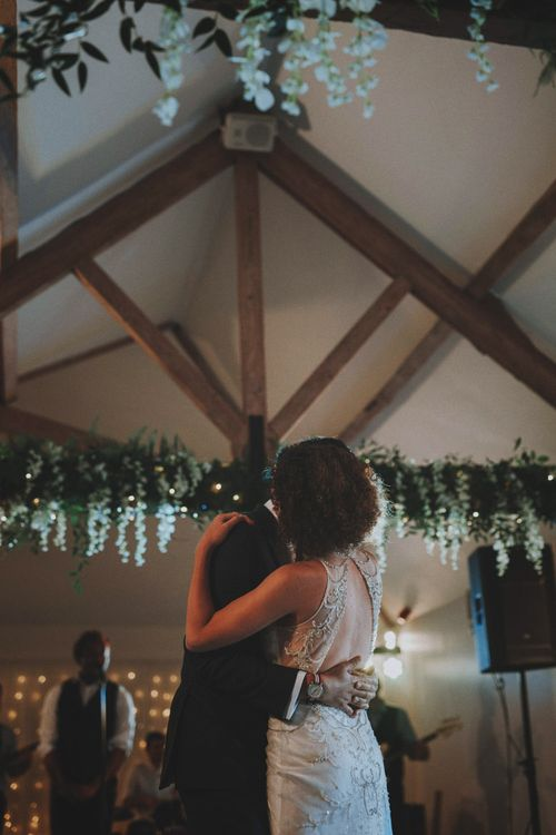 First Dance   Bride in Sottero & Midgley Wedding Dress   Groom in Tailor Made Suit   Rustic Wedding at Farbridge West Sussex with Styling by Fairly Vintage   Meghan Lorna Photography