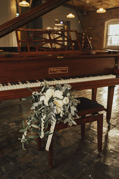 White Roses and Eucalyptus Wedding Bouquet