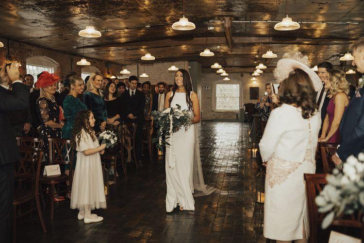 Wedding Ceremony Bridal Entrance on Her Own in Charlie Brear Wedding Dress