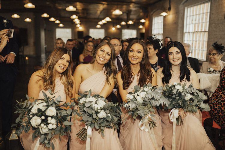 Bridesmaids in Pink Victoria Lou Bridal Multiway Dresses with Tulle