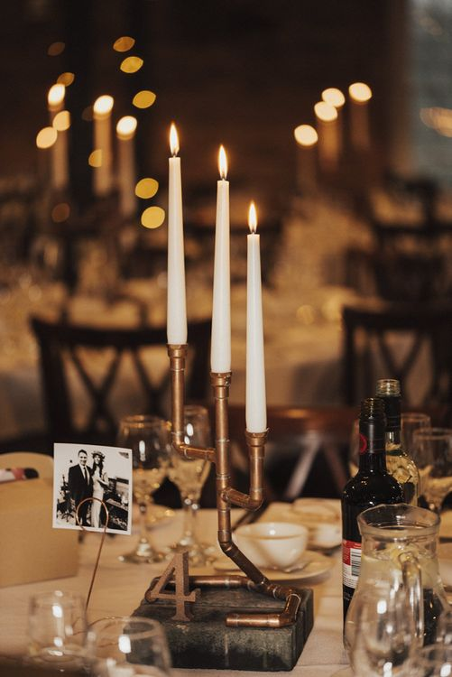Copper Pipe Candelabra Centrepieces with Tapper Candles