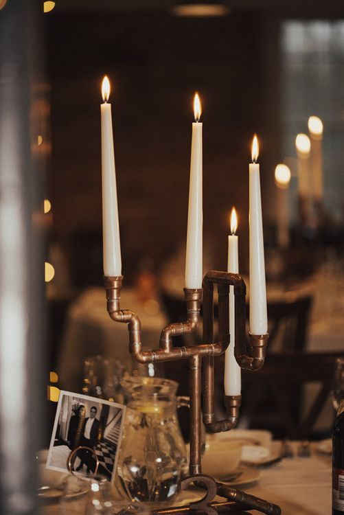DIY Copper Pipe Table Centrepiece Wedding Decor