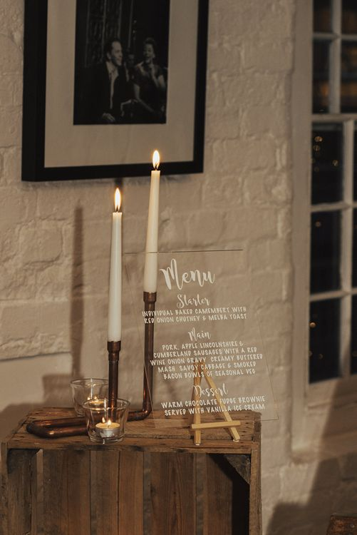 Acrylic Menu Sign and Copper Pipe Candle Stick Holder