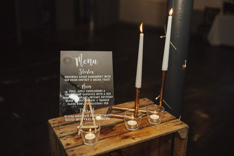 Acrylic Menu Sign and Copper Pipe Candlestick Holders