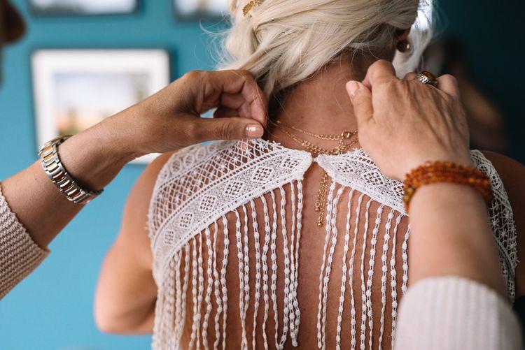 Watters wedding dress with fringe back detail