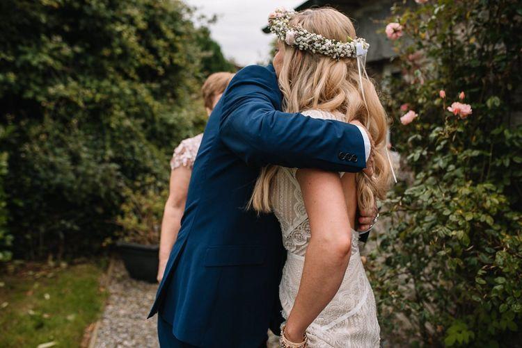Bride in blush flower crown