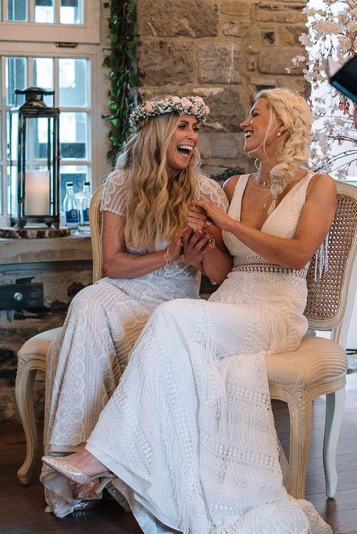 Brides enjoy wedding ceremony