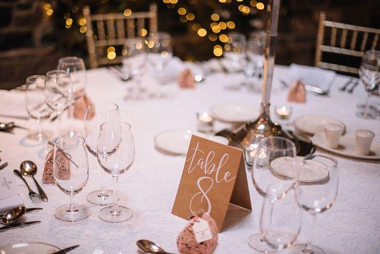 Wedding table decor at Ballymagarvey Village in Ireland