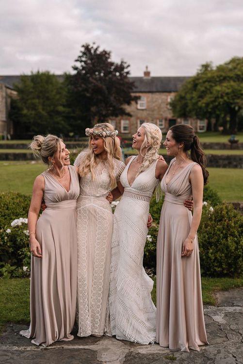 Champagne bridesmaid dresses at Irish wedding
