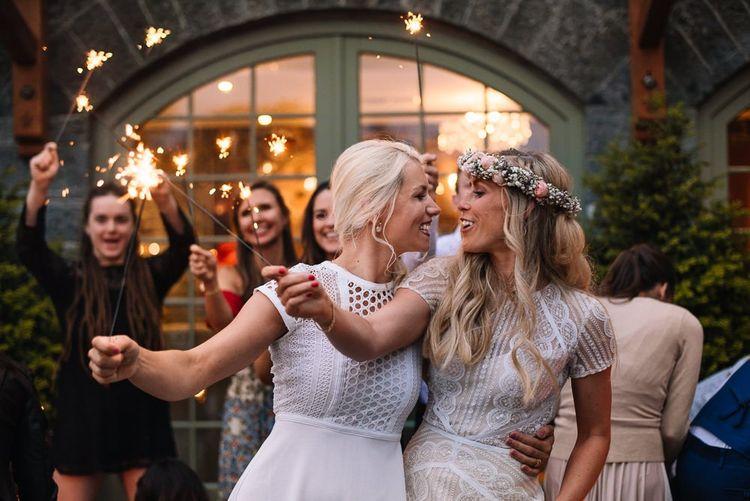 Sparklers at same sex wedding in Ireland