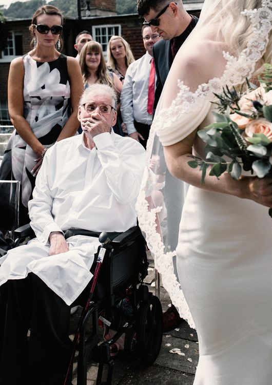 Emotional Father of the Bride as His Daughter Arrives at the Ceremony Altar