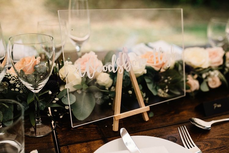 Perspex Sign Wedding Table Decor with Floral Table Runner