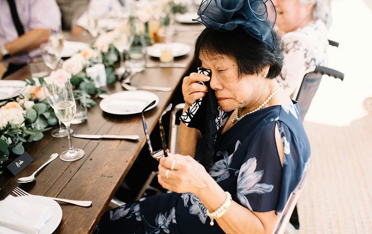 Emotional Wedding Guest Crying During the Wedding Speeches