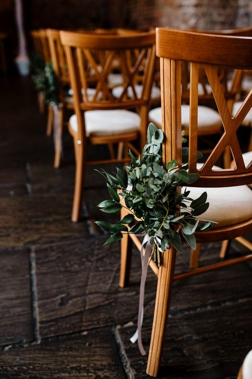 Greenery Aisle Chair Flowers | Intimate Greenery Wedding at Packington Moore Rustic Wedding Venue | Amy Faith Photography | Floodgate Films