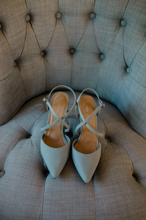 Blue Suede New Look Bridal Shoes | Intimate Greenery Wedding at Packington Moore Rustic Wedding Venue | Amy Faith Photography | Floodgate Films
