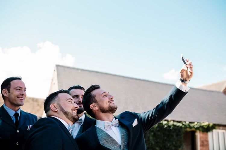 Groomsmen Selfie | Intimate Greenery Wedding at Packington Moore Rustic Wedding Venue | Amy Faith Photography | Floodgate Films