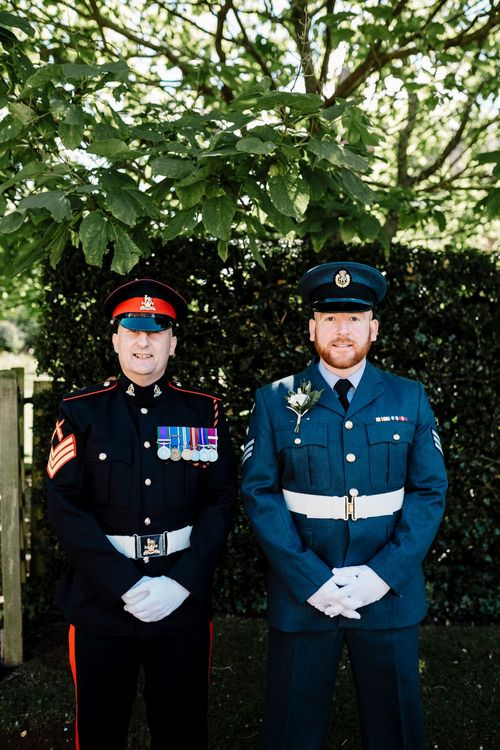 Groom in Military Uniform | Intimate Greenery Wedding at Packington Moore Rustic Wedding Venue | Amy Faith Photography | Floodgate Films
