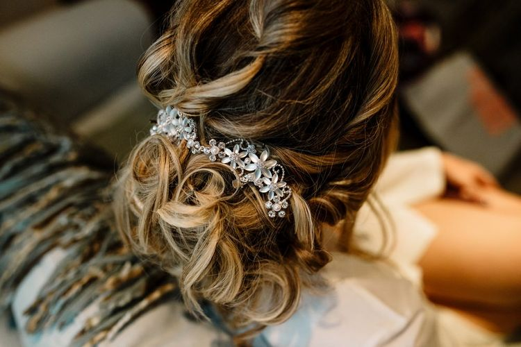 Messy Bridal Up Do with Hair Vine Accessory | Intimate Greenery Wedding at Packington Moore Rustic Wedding Venue | Amy Faith Photography | Floodgate Films