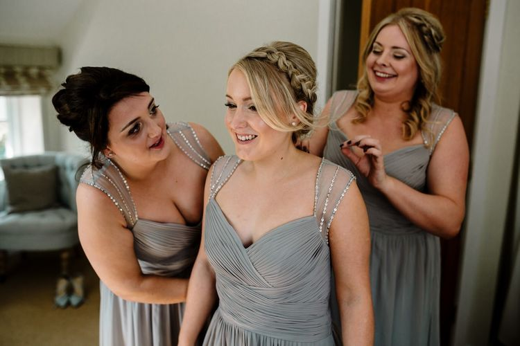 Bridesmaids in Green/Grey Chiffon Dresses | Intimate Greenery Wedding at Packington Moore Rustic Wedding Venue | Amy Faith Photography | Floodgate Films