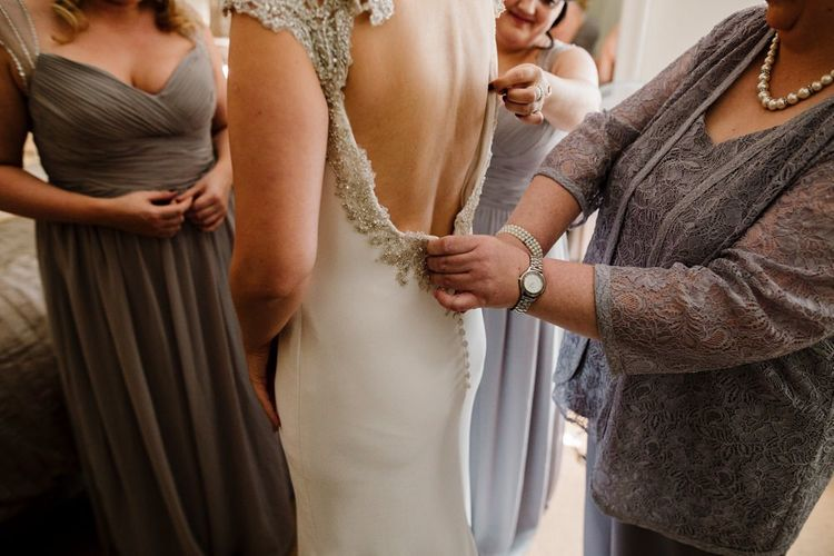Backless Simple 'Milan' St Patrick Bridal Gown | Intimate Greenery Wedding at Packington Moore Rustic Wedding Venue | Amy Faith Photography | Floodgate Films
