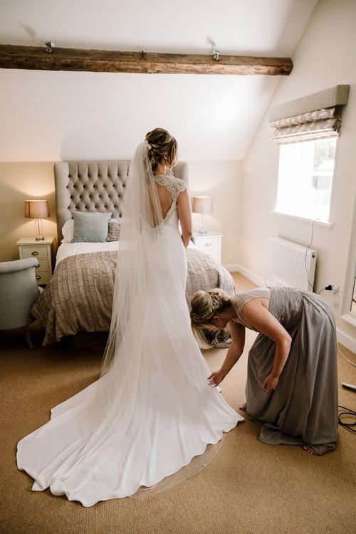 Wedding Morning Bridal Preparations | Bride in Backless 'Milan' St Patrick Bridal Gown | Intimate Greenery Wedding at Packington Moore Rustic Wedding Venue | Amy Faith Photography | Floodgate Films