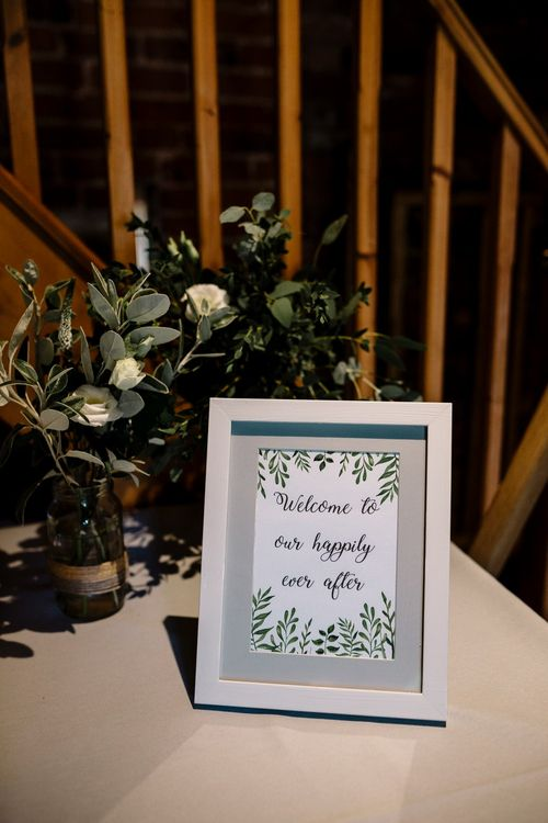 DIY Greenery & Calligraphy Wedding Sign | Intimate Greenery Wedding at Packington Moore Rustic Wedding Venue | Amy Faith Photography | Floodgate Films