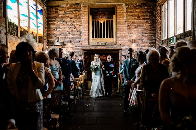 Wedding Ceremony | Bridal Entrance in 'Milan' St Patrick Bridal Gown | Intimate Greenery Wedding at Packington Moore Rustic Wedding Venue | Amy Faith Photography | Floodgate Films