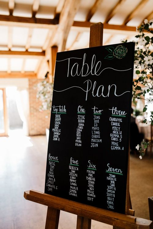 DIY Chalkboard Table Plan with Calligraphy Lettering | Intimate Greenery Wedding at Packington Moore Rustic Wedding Venue | Amy Faith Photography | Floodgate Films