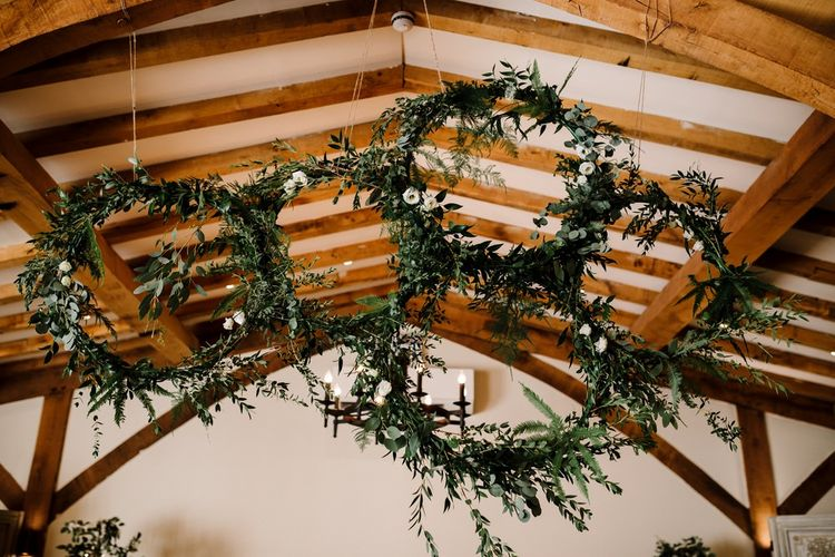 Hanging Greenery Hoops | Intimate Greenery Wedding at Packington Moore Rustic Wedding Venue | Amy Faith Photography | Floodgate Films